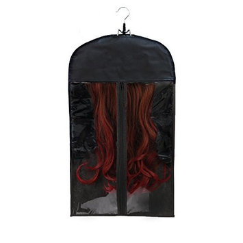 Premium Quality Hair Extensions Storage Bag With Wooden Hanger – Carrier Case With Strong, Durable Zipper – For Virgin Hair & Clip-in Extensions – Transparent – Perfect For Storage & Transportation