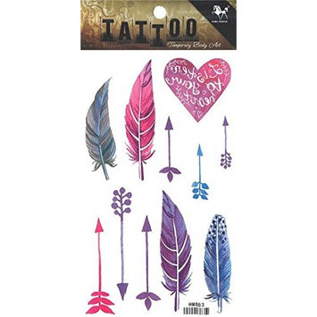 Grashine long last temporary tattoos Colorful feathers and arrows look like real temporary tattoo stickers