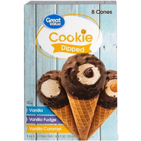 Great Value Cookie Dipped Variety Pack Vanilla, Vanilla Fudge, Vanilla Caramel, 8 - 4.6 oz cones