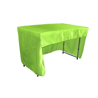 LA Linen TCbridal-OB-fit-48x30x30-LimeB84 Open Back Fitted Bridal Satin Classroom Tablecloth Lime - 48 x 30 x 30 in.