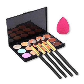 Makeup tools, LUNIWEI 15 Colors Contour Concealer Palette + 4pcs Powder Br...