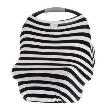 Itzy Ritzy Milk Boss Multi Use Infant Cover Black and White Stripe - Itzy Ritzy Diaper and Baby Accessories