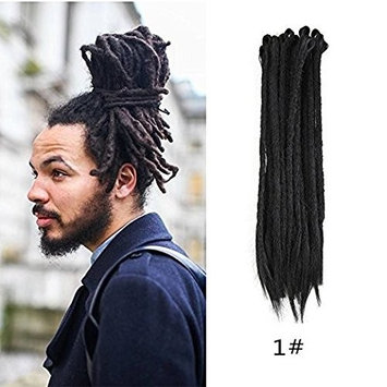 HAIQUAN Black Color Handmade Dreadlocks Extensions Reggae Hair 22