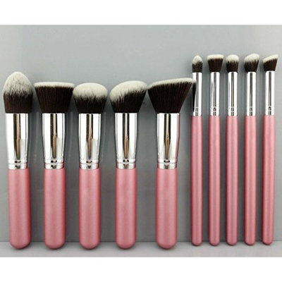 akldigital 10Pcs Professional Premium Kabuki Makeup Brush Set Foundation Blending Blush Eyeshadow Face Powder Contour Kit, Pink & Silver Color