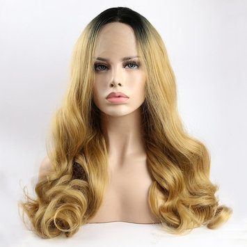Ombre Dark Roots to Mixed Blonde Body Wave Lace Front Wigs Synthetic Hair Glueless Wig With Baby Hair Middle Part For Women 22inch