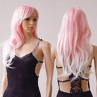 28'' / 70cm Synthetic Wig Pink Ombre 2 Tone Color Japanese Kanekalon Fiber Heat Resistant Full Wig with Bangs Long Curly Wavy Costume Wigs Dip-dye +Stretchable Elastic Wig Net