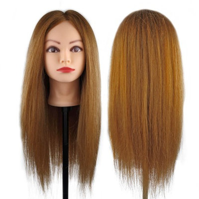 Besmall 100% Human Hair Straight Hair Hairdressing Mannequin Manikin Training Practice Heads with Clamp Holder for Styling Cutti