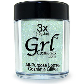 Grl Cosmetics Cosmetic Glitter Makeup for Face, Eyes, Lips, Nails and Body - GL43 Rainbow White, 12 Gram Jar