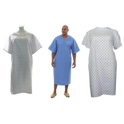 3 Pack Hospital Gowns - Demure, Snowflake and Solid Blue