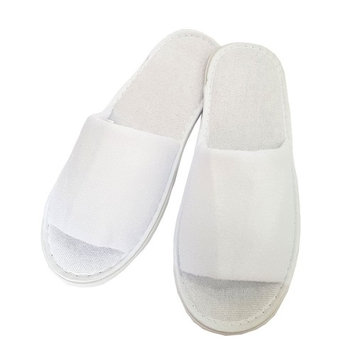 2 Pairs Open Toe Towel Terry Cotton Cloth Slippers Adults Unisex Indoor Slippers