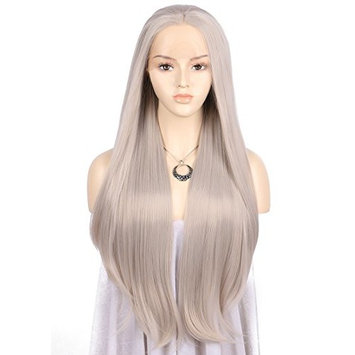TANYAWIGS Long Silver Gray Straight Lace Front Wigs Ash Blonde Straight Heat Resistant Fiber Synthetic Wigs Middle Parted Wig For Women
