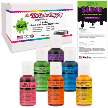 6 Neon Colors Food and Slime Coloring Liqua-Gel Decorating Kit – U.S. Art Supply Food Grade, Non-Toxic Neon Colors