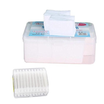 MagiDeal 1000 Sheet Soft Nail Polish Face Eye Comestic Cleaning Cotton Pads with 55 Pieces Double Tip Head Ear Cleansing Cotton Swabs