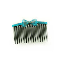 Linda Fashion Colorful Bow Rhinestone Comb, No. 93, 12 Count