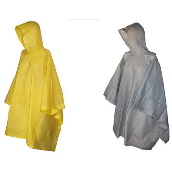 totes ISOTONER Unisex Rain Poncho with Hood (Pack of 2), Grey/Yellow