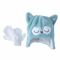 Aquarius Infant & Toddler Girls Fuzzy Green Owl Hat & Mittens Set [baby_clothing_size: baby_clothing_size-toddler]