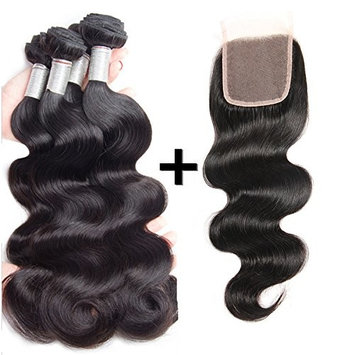 Perstar Hair Brazilian Body Wave with Closure Virgin Remy 3 Bundles with 4