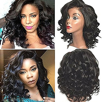 NiceToBuy Glueless Short Wavy Bob Haircut Front Lace Wig with Bangs Brazilian Virgin Human Hair Wigs for Women 14inch #1 Jet Black Color