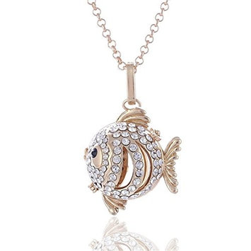 Vintage Crystal Goldfish Love Pet Aromatherapy Essential Oil Diffuser Charms Pendant Perfume Oil Locket Necklace