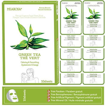 MEAROSA Sheet Mask(10sheets) Facial Sheet Mask Korean Less Sticky Moisturizer Daily skin care product. (GREEN TEA)