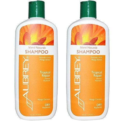 Aubrey Organics Island Naturals Shampoo for Tropical Repair and Dry Replenish with Avocado Oil, Mango Butter and Mango Coconut, 11 fl oz (325 ml) (Pack of 2)