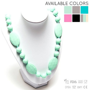 Silicone Teething Necklace - 12 Color Choices - Baby Safe For Mom To Wear - BPA-Free Beads To Chew - Stylish & Natural