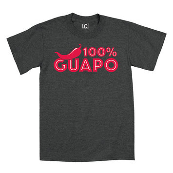 100% GUAPO with Chile Pepper, Cinco De Mayo Spanish Mexico Mexican Cool - Mens T-Shirt
