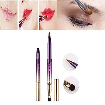 DZT1968 1pc 12cm Purple Double-headed Portable telescopic Lip Brush Eyeshadow Brush Makeup Tool