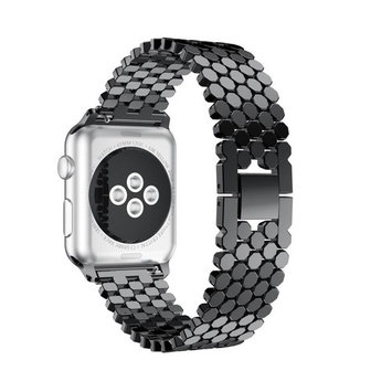 HP95(TM) Replacement Stainless Steel Bead Bands,For Apple Watch Series 3/2/1 38MM Metal Watch Band (Black)