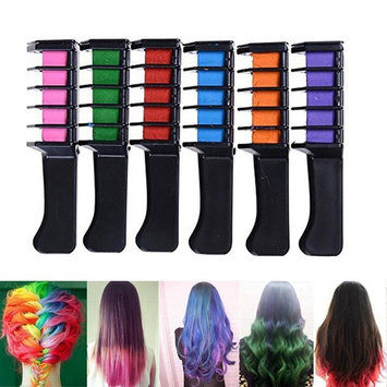 Zinnor Hair Chalk Comb, 6Pcs/Set Mini Disposable Personal Salon Use Hair Dye Comb Professional Crayons For Hair Color Chalk Hair Dyeing Tool Washable Hair Chalk for Hair Dye-Non-toxic Safe for Kids