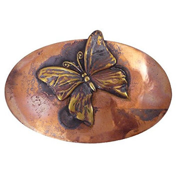 American-Made Rustic Copper Hair Barrette with French-Made Clip: Butterfly