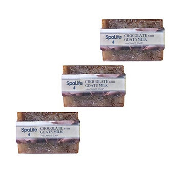 SpaLife Natural Bar Soap - Handmade - 3 Pack - 3.5oz Each (Coffe with Goats Milk)