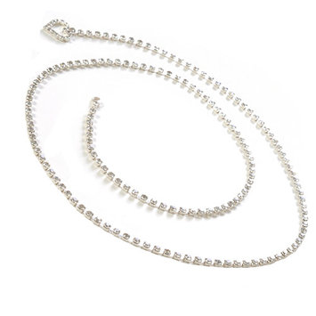 Silver Crystal Chain Belt with Heart Shape Rhinestones End 39 inch long