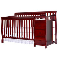 Dream on Me Brody 4-in-1 Convertible Fixed-Side Crib with Changer, Cherry