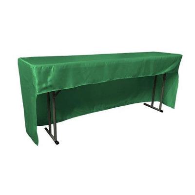LA Linen TCbridal-OB-fit-96x18x30-GreenKellyB32 Open Back Fitted Bridal Satin Classroom Tablecloth Green Kelly - 96 x 18 x 30 in.
