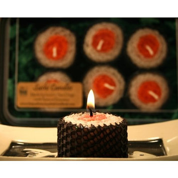 Sushi Natural Beeswax Candles boxed set of 6 - red