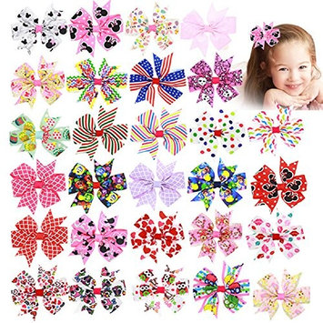 28PCS 3.1 inch Boutique Hair Bows No Teeth Clips Grosgrain Ribbon Small Hair Bows Clips For Baby Girls Teens Toddlers Hair Accessories