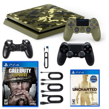 Sony Playstation 4 1TB LE COD WWII Console with Dualshock, Nathan Drake Game and Silicone Sleeve