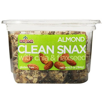 Melissa's Almond Clean Snax with Chia and Flax Seed 6.5 Ounce, Bite-Sized Gluten Free Snack Squares with Chia & Flaxseed, Low Fat Low Sodium No Artificial Ingredients [Almond]