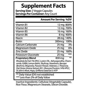 All Natural Around The Clock Anxiety and Stress Support Supplement by Optimal Effects - Sleep Support - Wake Refreshed - Lemon Balm, Valerian Root, Chamomile, Tryptophan & More - 60 Veggie Capsules