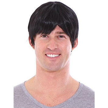 Simplicity Men's Short Layered Black Full Wig with Wig Cap