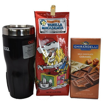 Coffee Lovers Bundle with Lion Coffee Vanilla Macadamia, Oggi Travel Mug, and Ghirardelli Chocolate Bar
