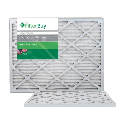 AFB Silver MERV 8 22x24x1 Pleated AC Furnace Air Filter. Filters. 100% produced in the USA. (Pack of 2)
