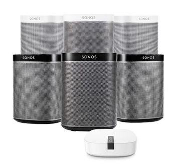 Sonos PLAY1 Black/White Wireless Music Player 6pk & Boost Wireless Extender Kit