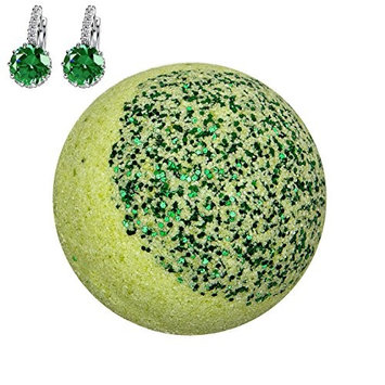 Addicted to Soap – Green Earrings Jewelry Bath Bomb | Ultra Luxurious - Extra Large 6oz Bath Bomb with STERLING SILVER Surprise Inside - Organic & Sensual Relaxation Handmade with Love Texas