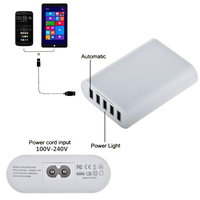 ABLEGRID® White 5V 10A 50W 5-Port USB Charger Travel Desktop Adapter Rapid Charging for Apple iPhone 6S 6S Plus iPad Air mini Samsung Galaxy S6 Edge Plus and Many Other Devices