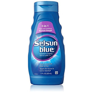 3 Pack Selsun Blue 2-In-1 Maximum Strength Dandruff Shampoo 11 oz Each