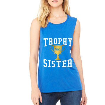 Women's Flowy Muscle Top Trophy Sister Love Family Cute (S, Royal Blue)