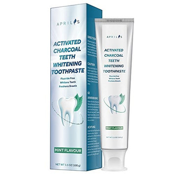 Activated Charcoal Teeth Whitening Toothpaste, Natural Teeth Whitening with Mint Flavor, Removes Bad Breath and Coffee Stains, Fluoride & Peroxide Free, 3.5 oz
