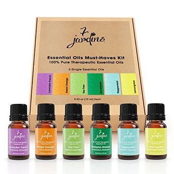 7 Jardins Pure Essential Oil Kit Lavender Orange Tea Eucalyptus Peppermint Lemon